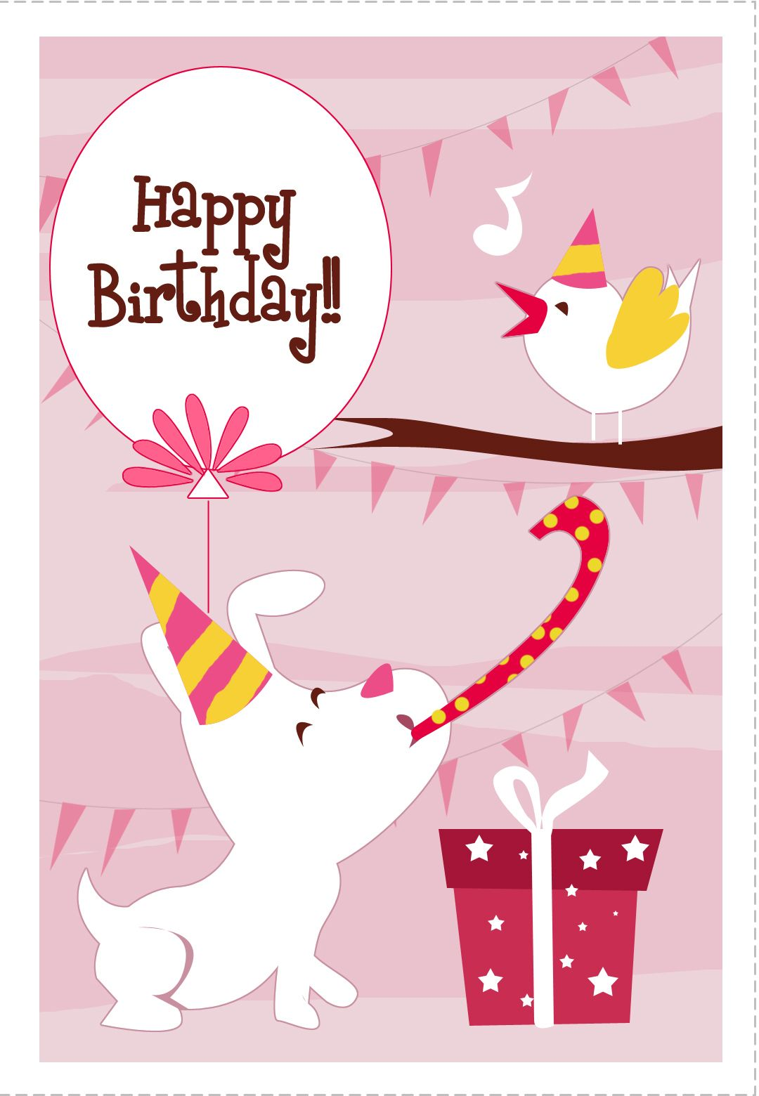 Free Printable Dog N Bird Greeting Card birthday Happy