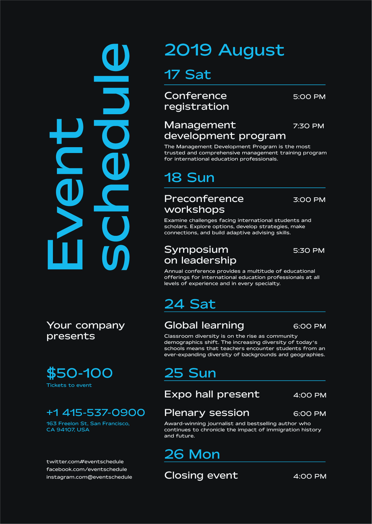 Schedule Event Poster Template Event Schedule Design Event Poster Template Conference Design