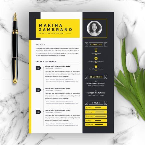 Minimalist Clean Resume / CV Template for Web Developer | Etsy