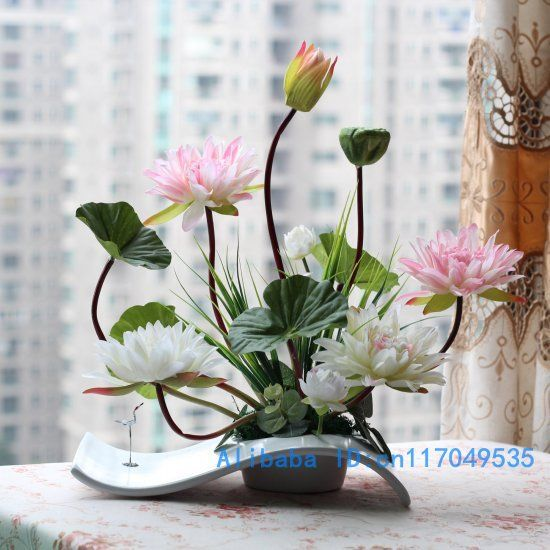 Flower arrangement ikebana arranged artificial lotus flower silk flower arrangement ikebana arranged artificial lotus flower silk flower include vase home decoration fv29 mightylinksfo Images