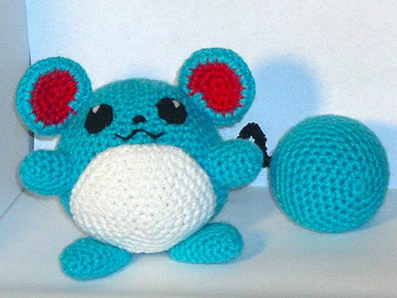 Marill Crochet Plush by blackmoonflower on Etsy, $25.00
