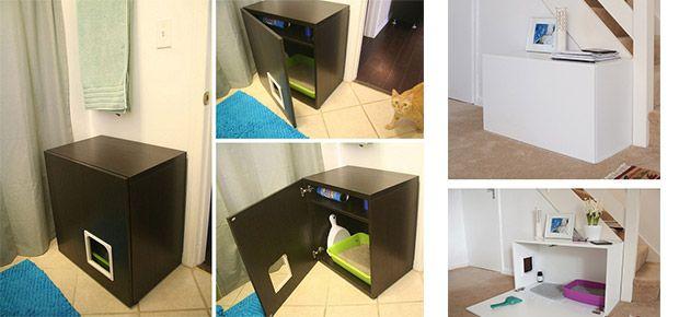 Diy meuble litiere recherche google chats pinterest - Meuble litiere pour chat ...