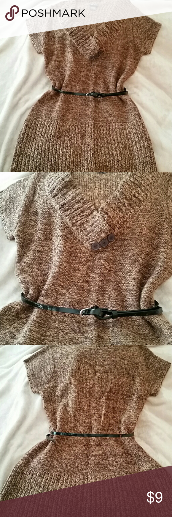 Chocolate wool sweater dress sz L with belt Dots sz L chocolate brown sweater dress, short sleeve with belt. SO CUTE and so cozy!!! This was my go-to last fall. I paired this with black leggings and two toned riding boots. Adorable!! Excellent condition. Dots Sweaters V-Necks
