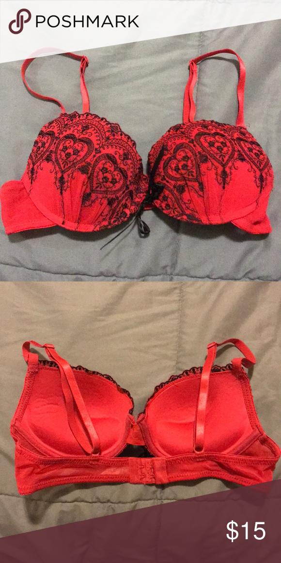 ecfa4a1d3a2 Victoria Secret Push Up Bra 34b Sexy Red Victoria Secret Push Up bra with  black embroidery and lace