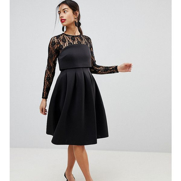 Asos Petite Lace Long Sleeve Crop Top Prom Dress 87 Liked On