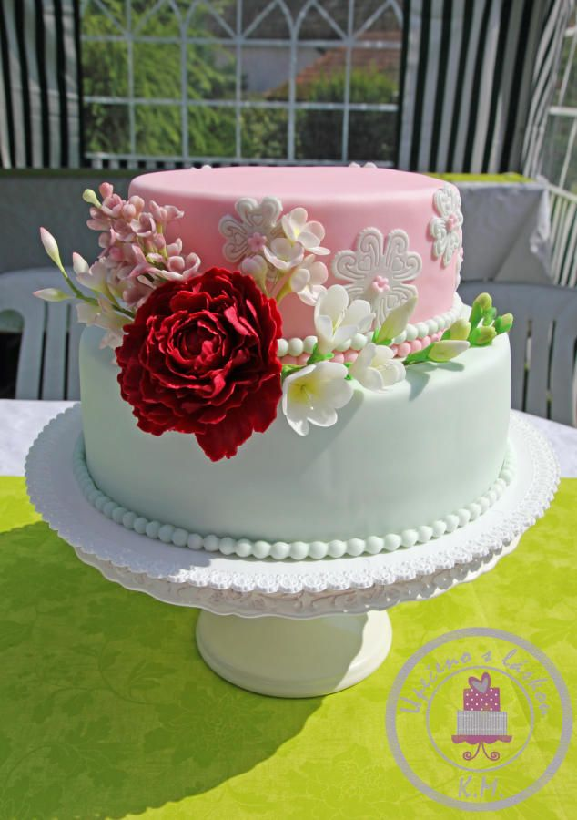 Flower Cake for my Grandma 80th Birthday Cakes Cake Decorating