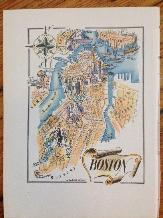 Boston Map Print Old Map Of Boston Massachusetts Vintage City