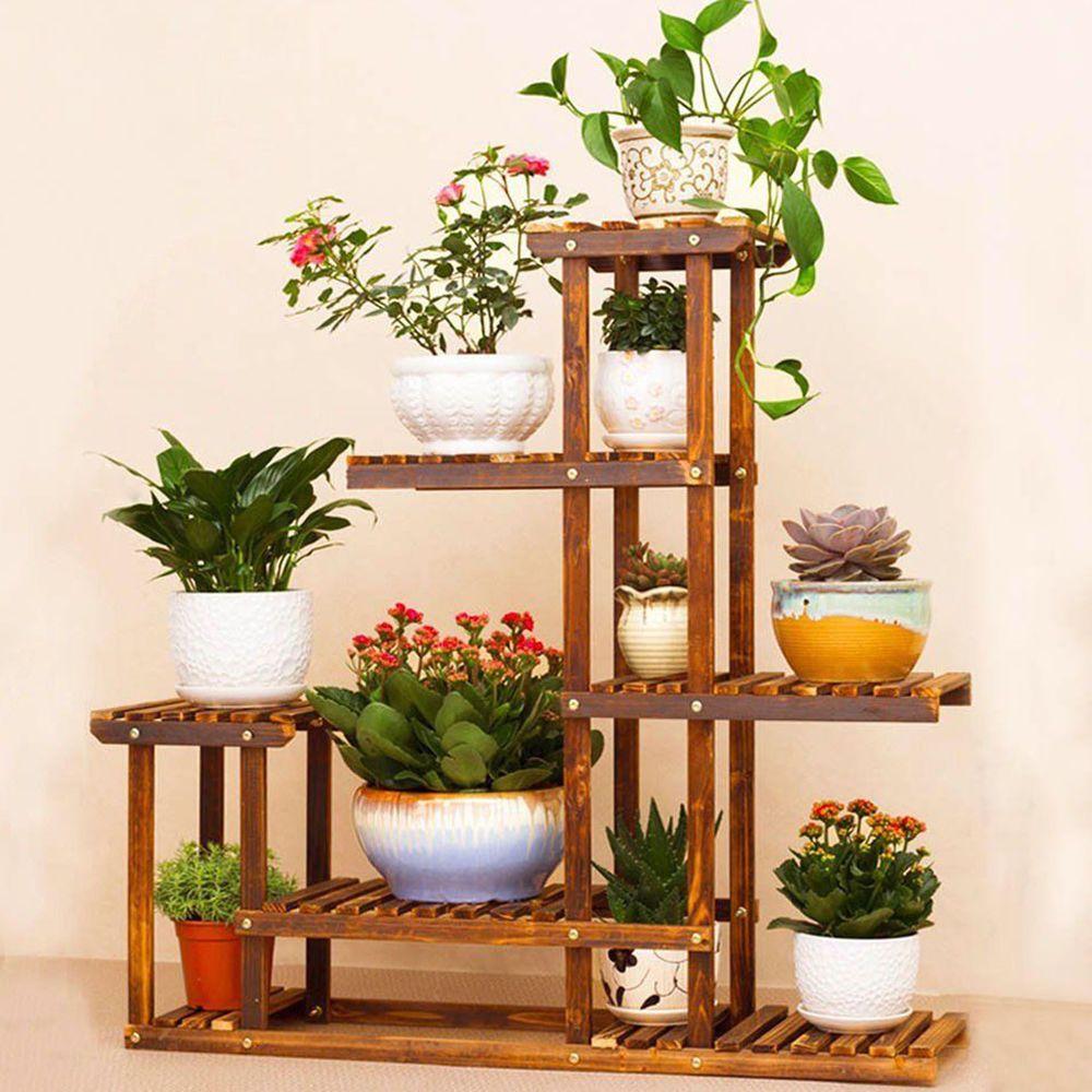 anti corrosion solid wood 5tier plant stand flower pot shelf balcony rh pinterest com