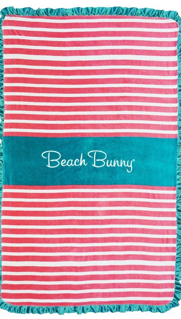 Beach Bunny Swimwear Stripe Towel w/ Satin Ruffle Trim