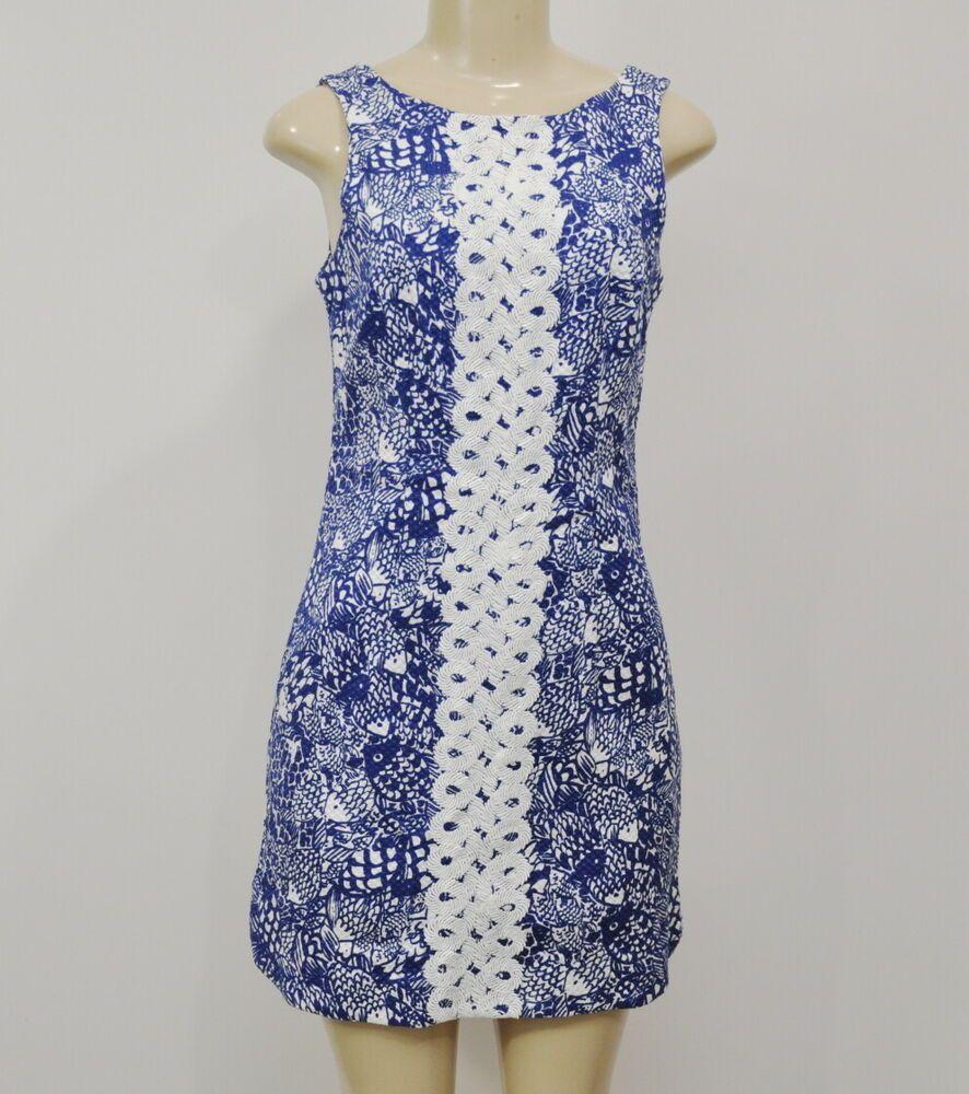 aa441ca5a1fc35 Lilly Pulitzer Target Shift Dress Fish Print Upstream Size 4 #LillyPulitzer  #ShiftDress #Work