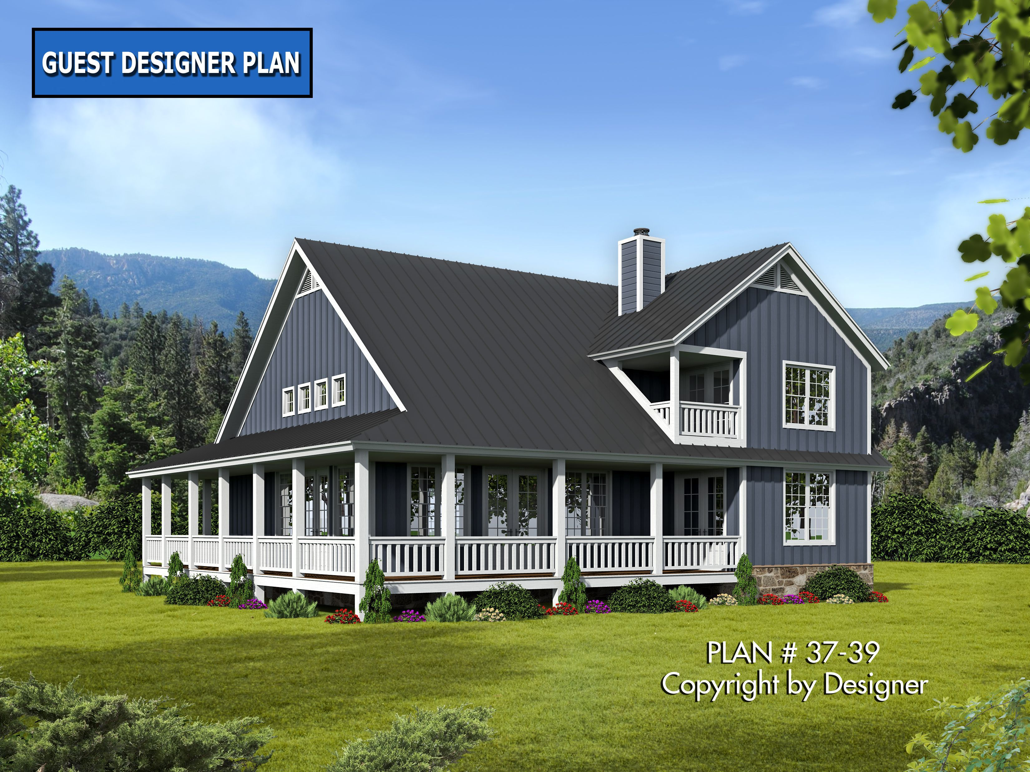 House Plan 37 39 Rear Elevation Blue Southern Style House Plans