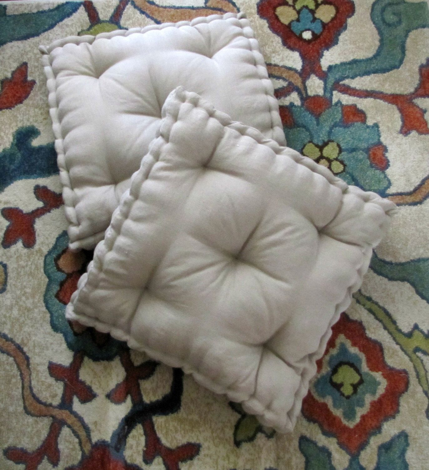 Linen Floor Pillow, Tufted Floor Cushion with French Mattress ...