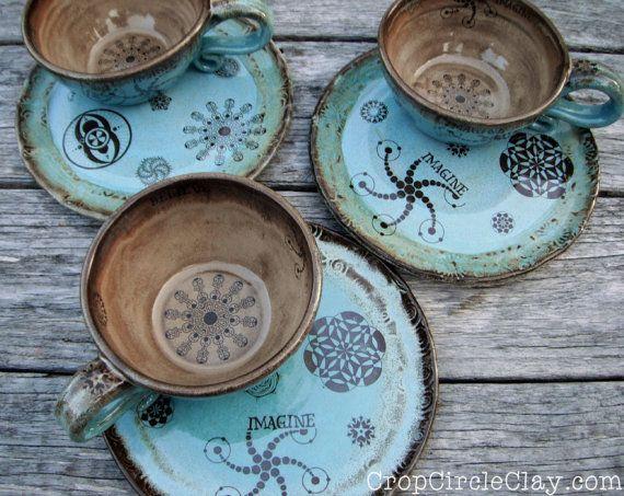 MADE TO ORDER Ceramic Soup Mug Sandwich Plate by CropCircleClay & MADE TO ORDER Ceramic Soup Mug Sandwich Plate by CropCircleClay ...