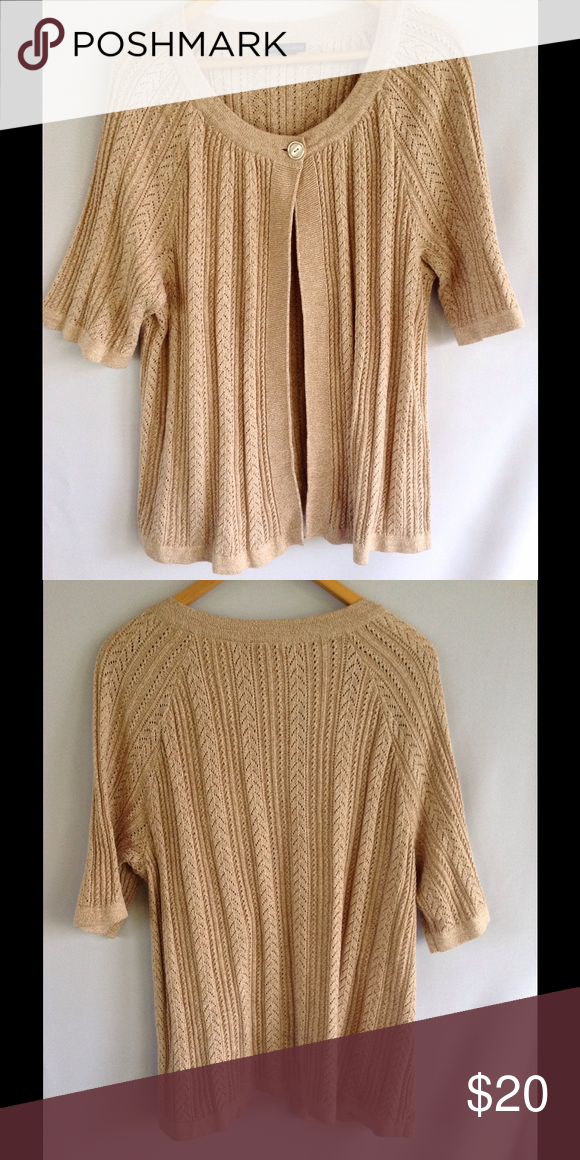 Westbound Tan Short Sleeve Cardigan Sweater Beautiful sweater ...