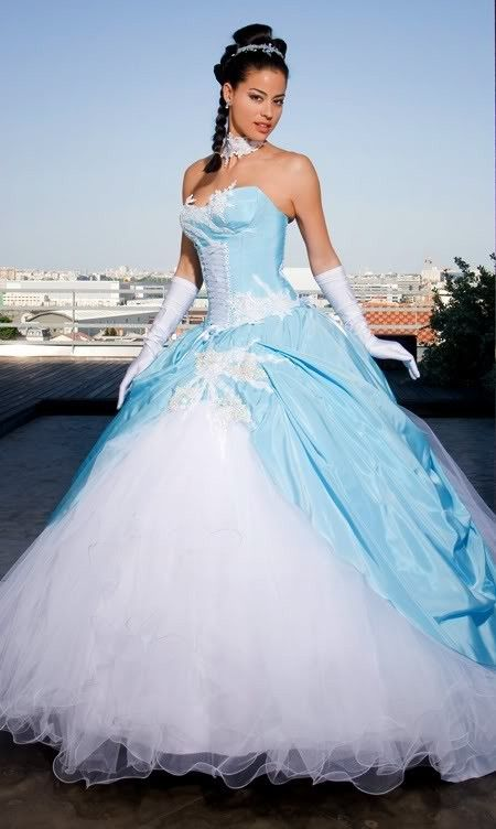 Robe mariee bleu turquoise