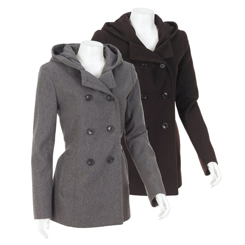 2b6cf281724d6 Wool Blend Peacoat with Hood 182561279