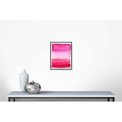 Photo of Casa Fine Arts 'Lipstick Pink' – Floater Frame Painting on Canvas Frame Color: Black Framed, Size: 28″ H x 22″ W x 2″ D