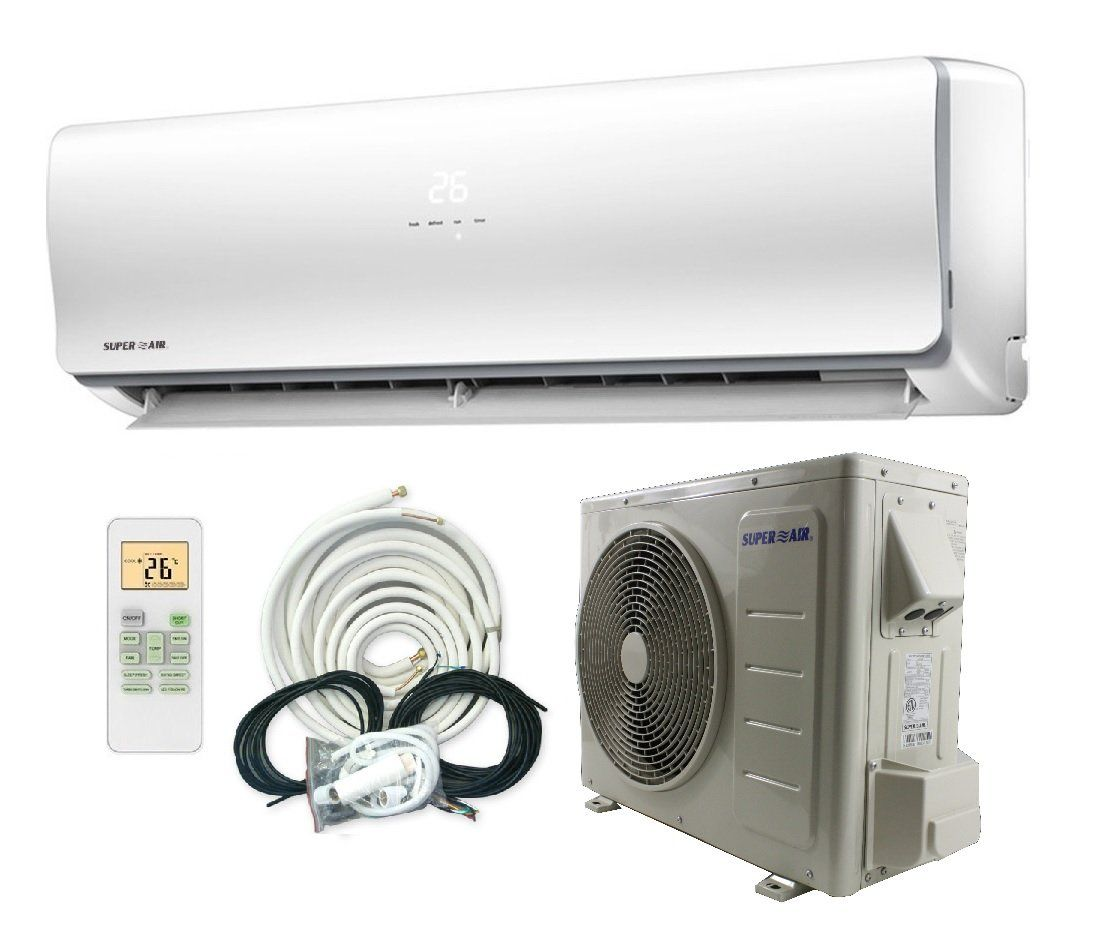 Superair 12000 Btu 22 Seer 1 Ton Ductless Mini Split System Inverter Air Conditioner With Heat Pump 110v Full Set S Ductless Mini Split Ductless Heat Pump