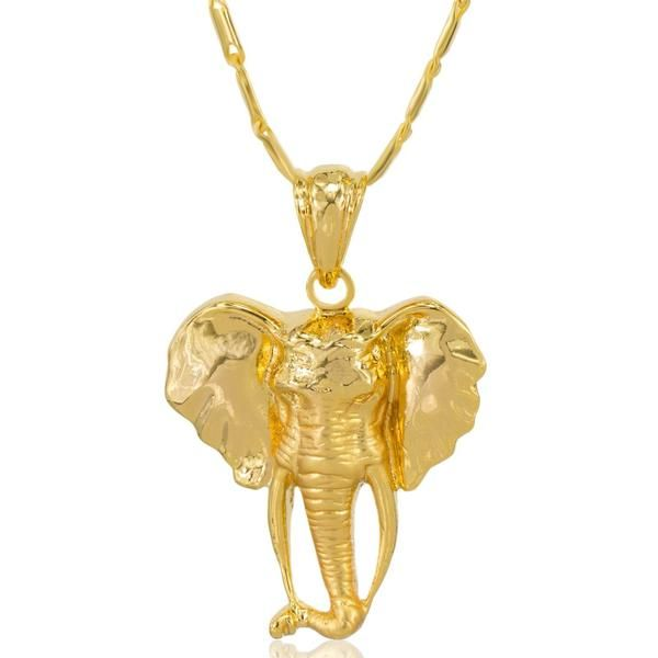 Elephant head necklace 18k gold plated pendant elephant head check out our mese london elephant head necklace 18k gold plated pendant aloadofball Image collections