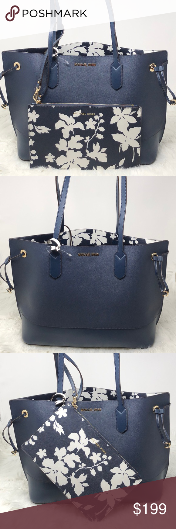 "1047f6e4c4307 NWT Michael Kors Trista LG drawstring tote Navy Michael Kors Trista large  drawstring tote Navy white MAde Of saffiano leather Measurements about  11""height ..."
