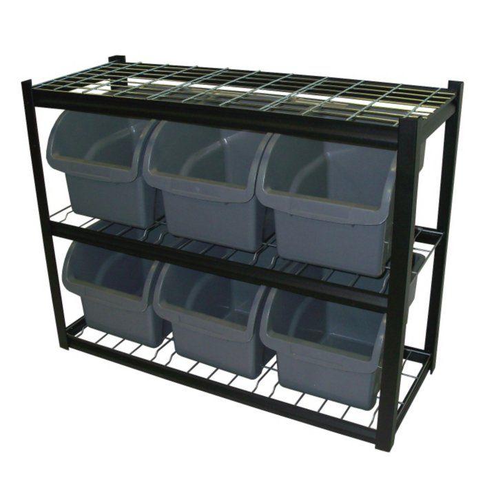 Edsal Industrial Bin Unit Shelving, 6 Jumbo Bins   Black   Samu0027s Club