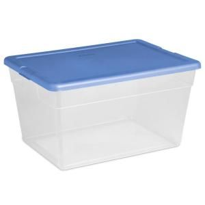 Sterilite 56 Qt Storage Box In Blue And Clear Plastic Binshome Depotgarden