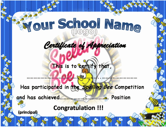 Spelling bee certificate template certificates pinterest bee spelling bee certificate template yelopaper Image collections