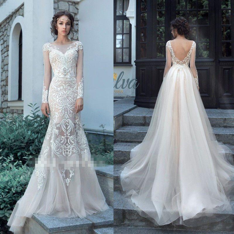 Mermaid Luxury Embroidery Wedding Dresses With Detachable