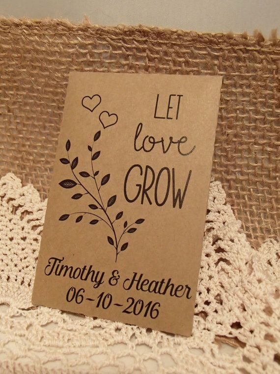20 Custom Seed Packet Wedding Favor Let Love Grow Personalized Favour Envelope Diy Seeds