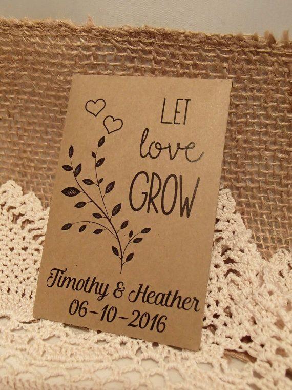 20 Custom Seed Packet Wedding Favor Let Love Grow Personalized Favour Envelope Diy Seeds