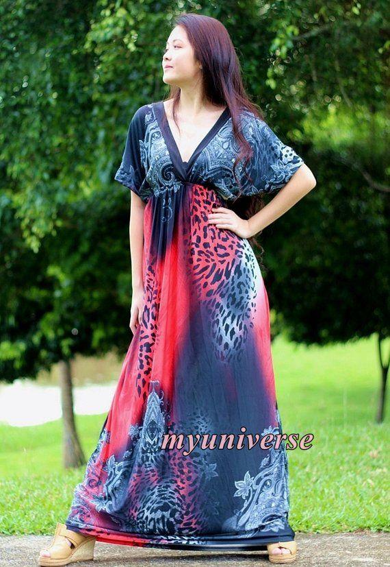Plus Size Red Leopard Print Maxi Dress | KUUWOO