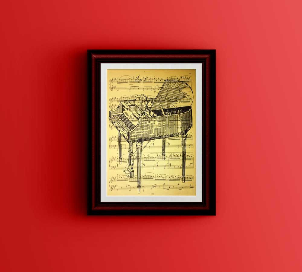 Piano Patent Print Vintage Music Sheet wall decor piano art print ...