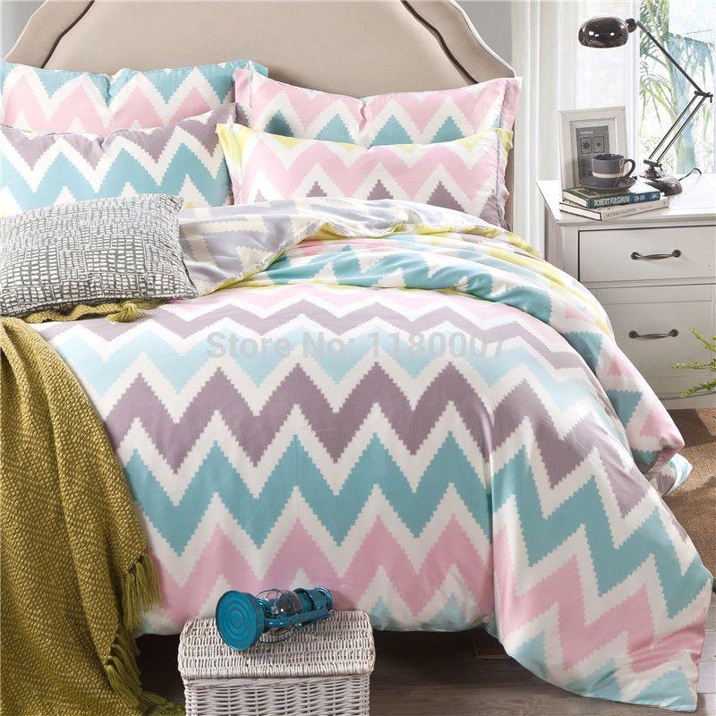 Pink White Blue Chevron Zigzag Duvet Cover Set 4 Pieces 40s Tencel Silk Super Soft Bedding King Queen Size Bedlinen