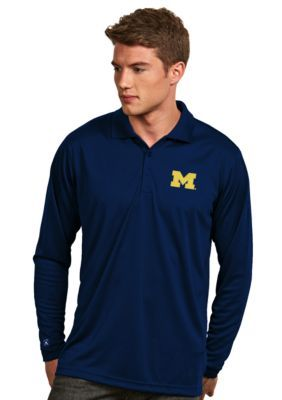 3285a602a Antigua Men s Michigan Wolverines Long Sleeve Exceed Polo - Blue - 2Xl