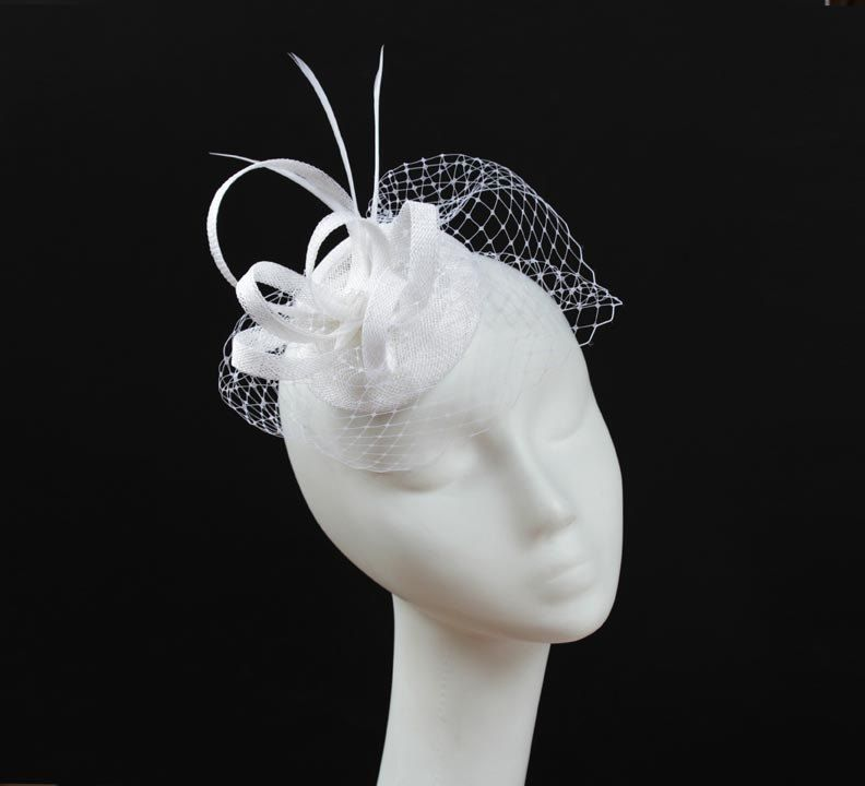 White Wedding Sinamay Fascinator With Veil by KasiaGirtler on Etsy, $44.00