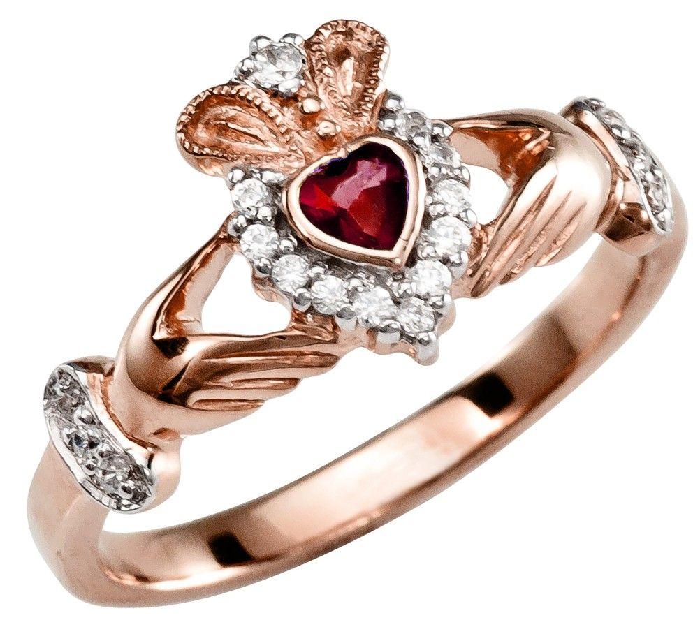 875e96dc8 Ladies 10K/14K/18K Rose Gold Ruby Diamond Claddagh Ring | Spillover ...