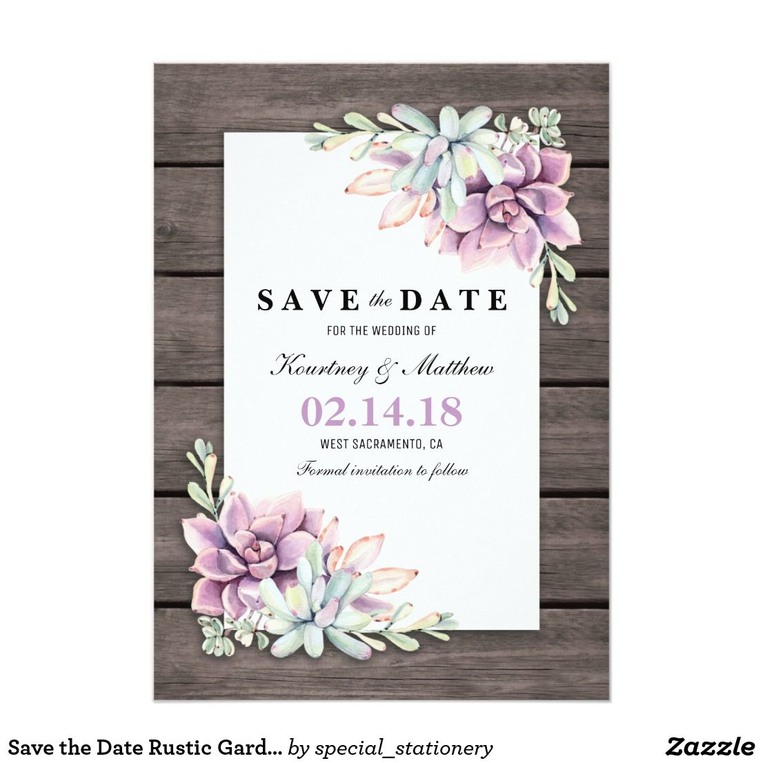 Save The Date Rustic Garden Succulent Floral Pinterest Rustic - Save the date text template