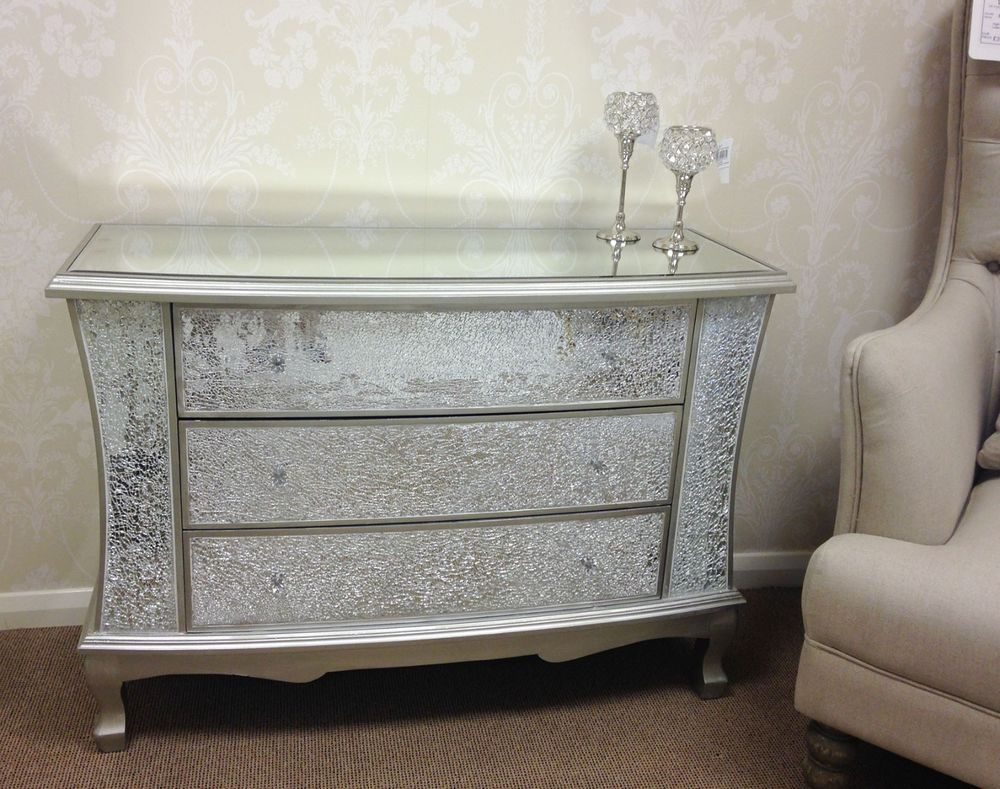 There is a dressing table mirror and lockers and drawersgalore - Large Sparkly Silver Crackle Mosaic Mirrored Glass 3 Drawer Chest Of Drawers