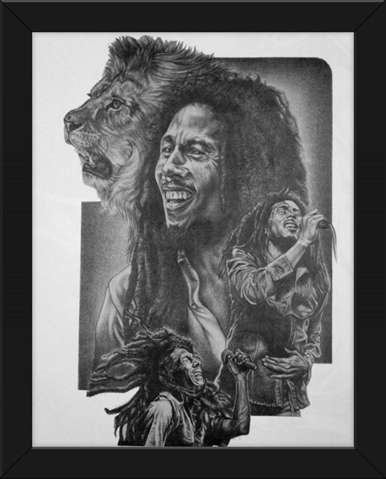 22.5x17.5 Sketch Poster Print Bob Marley Lion Framed or Un-Framed ...