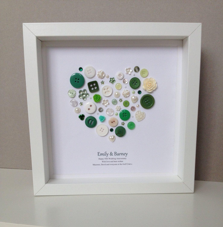 Emerald Wedding Anniversary Button Art 55th Wedding Anniversary
