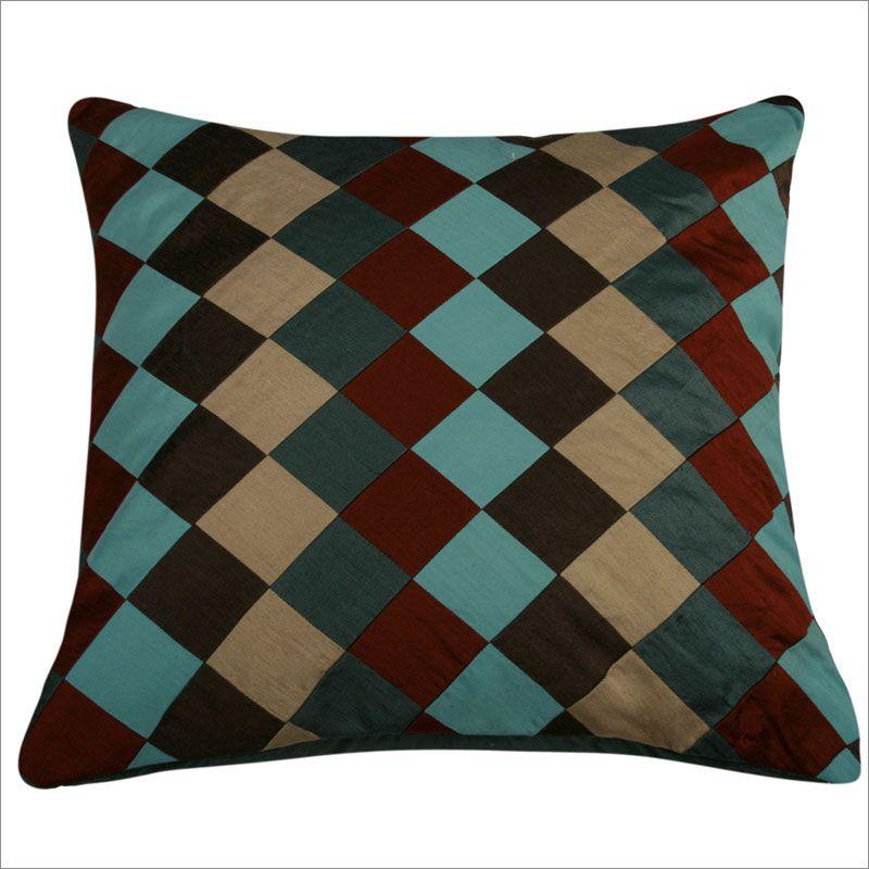 Teal Throw Pillows |  2793 Teal, Burgundy and Tan Checkered