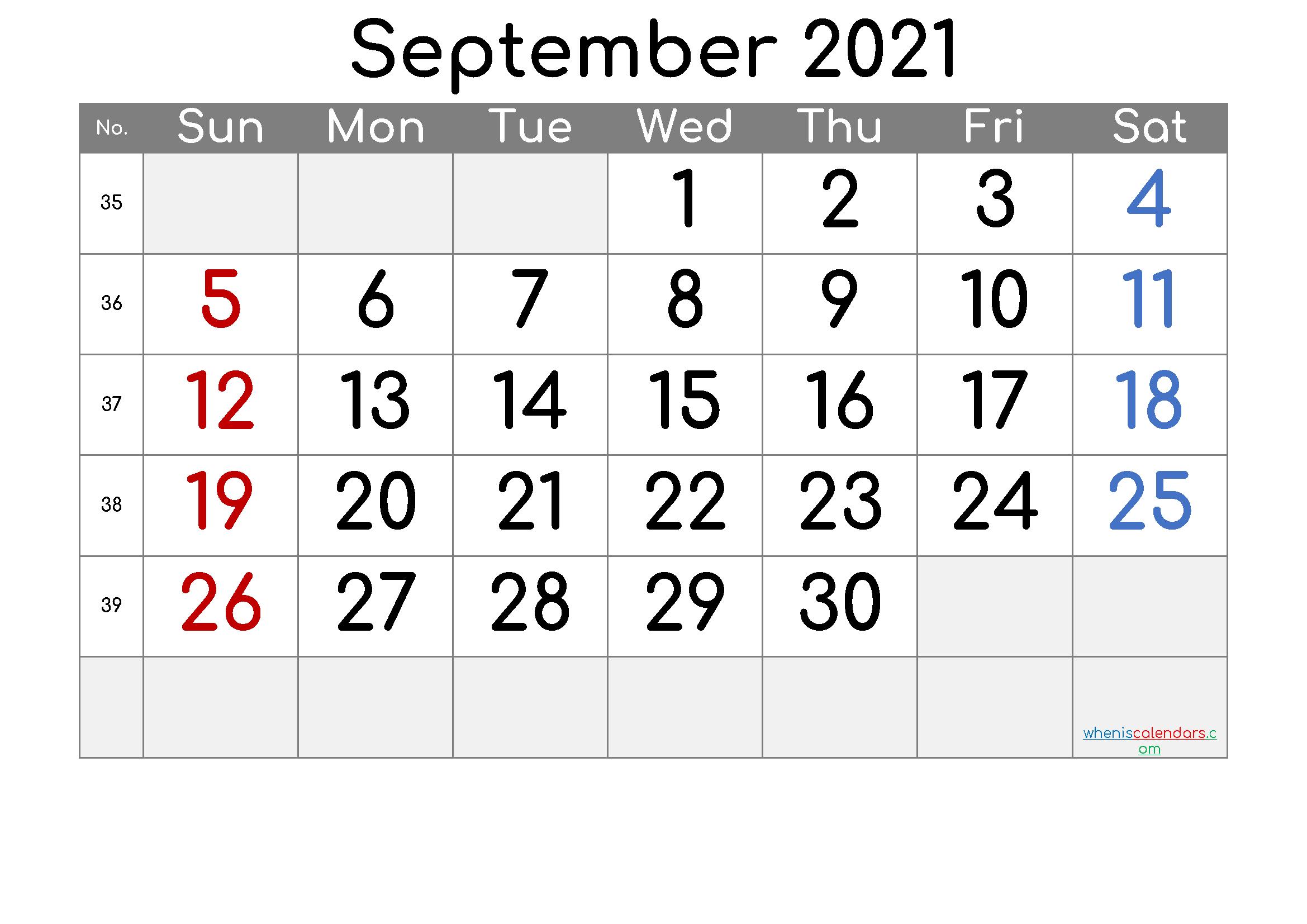 Free Printable September 2021 Calendar (Premium) | Calendar
