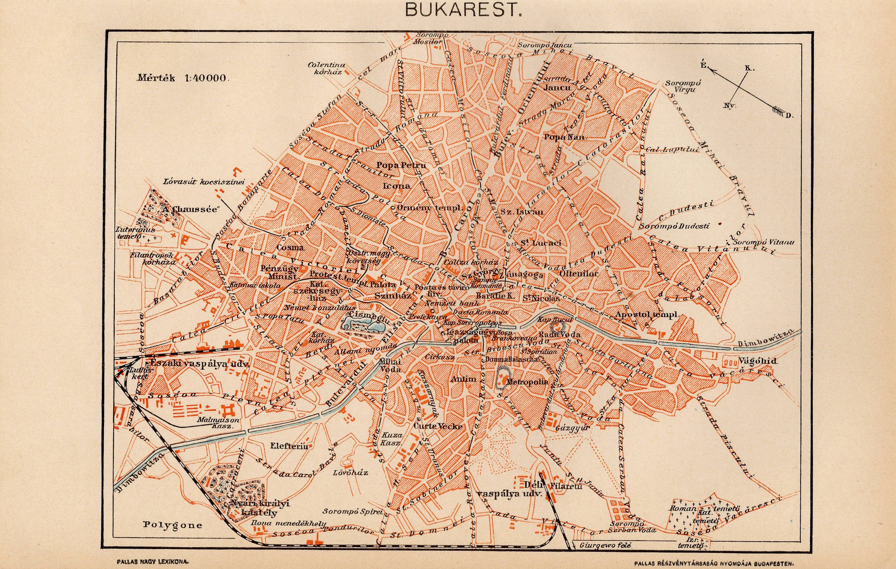 Antique city map of Bucharest, Romania from 1893 by ...