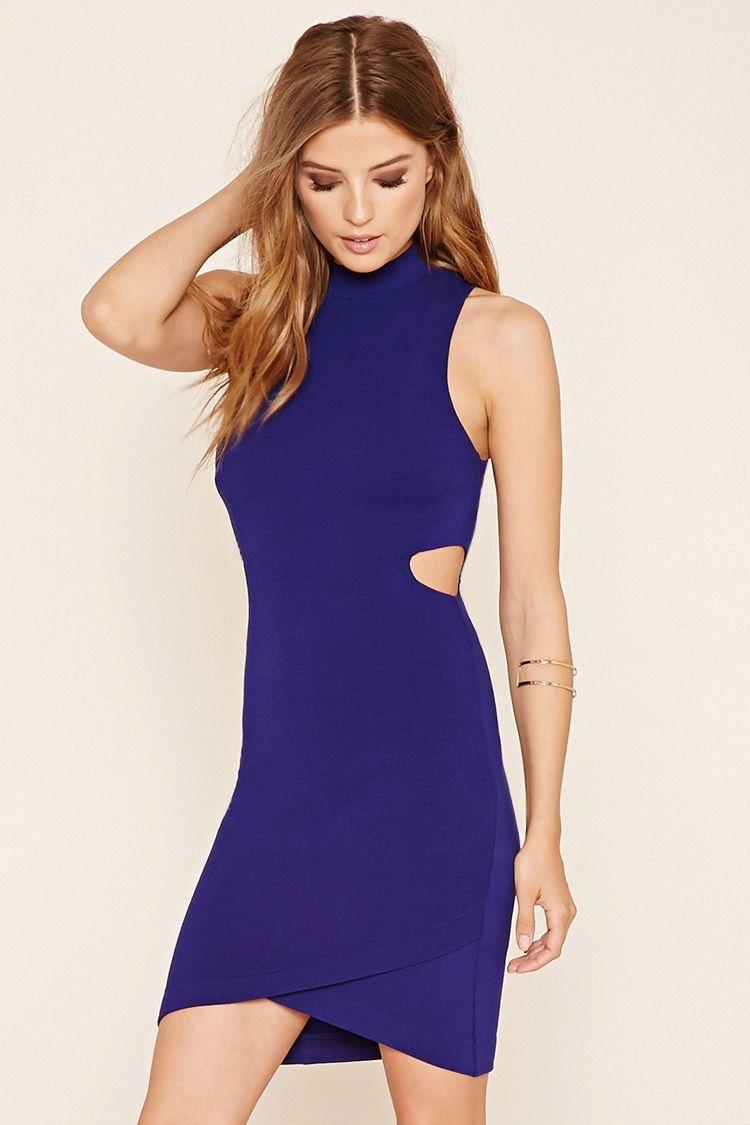 A knit mini bodycon dress featuring a high neckline side cutouts a