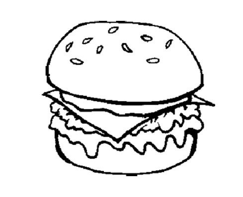 The Big Burger Junk Food Coloring Page For Kids Food Coloring