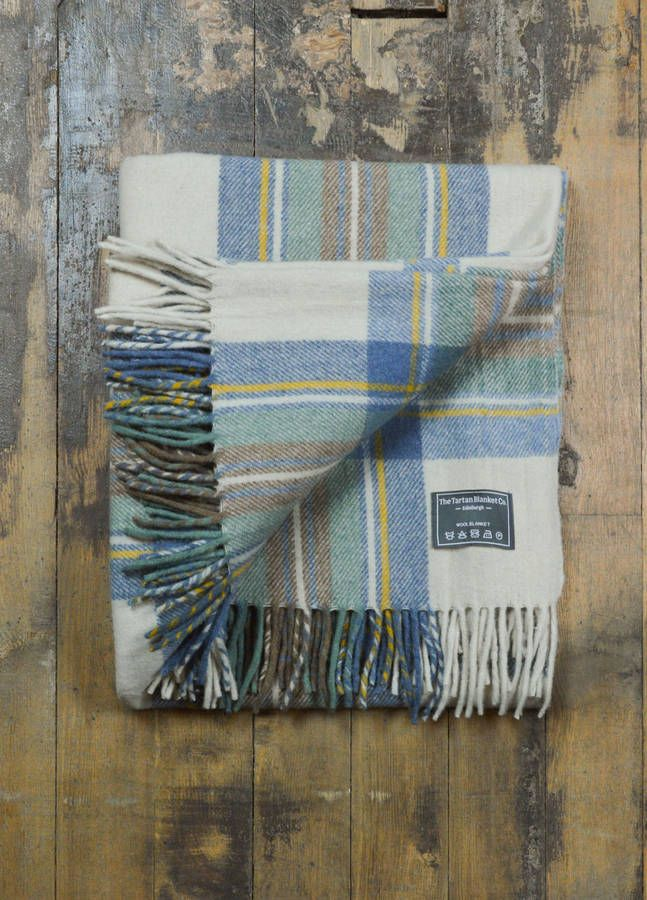 Classic Wool Blanket In Stewart Muted Blue Tartan