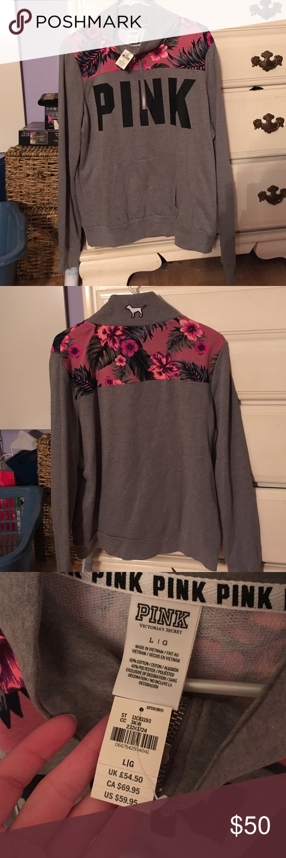 Pink Victoria Secret Hoodie Pink hoodie with floral. Brand new with tags, never worn. Size Large. Offers welcome. PINK Victoria's Secret Sweaters