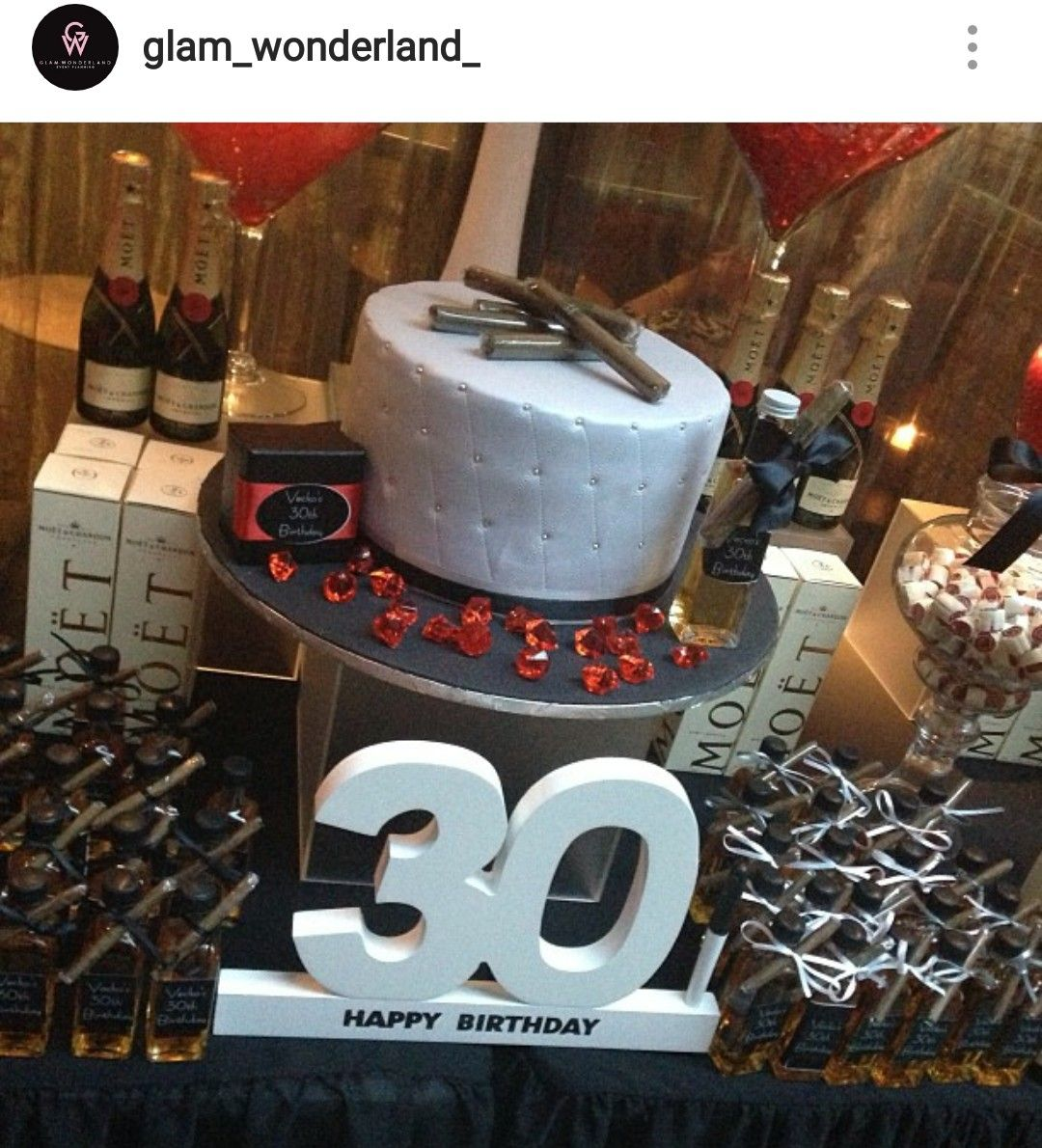 moet and cigar 30th birthday party theme desserttable adult