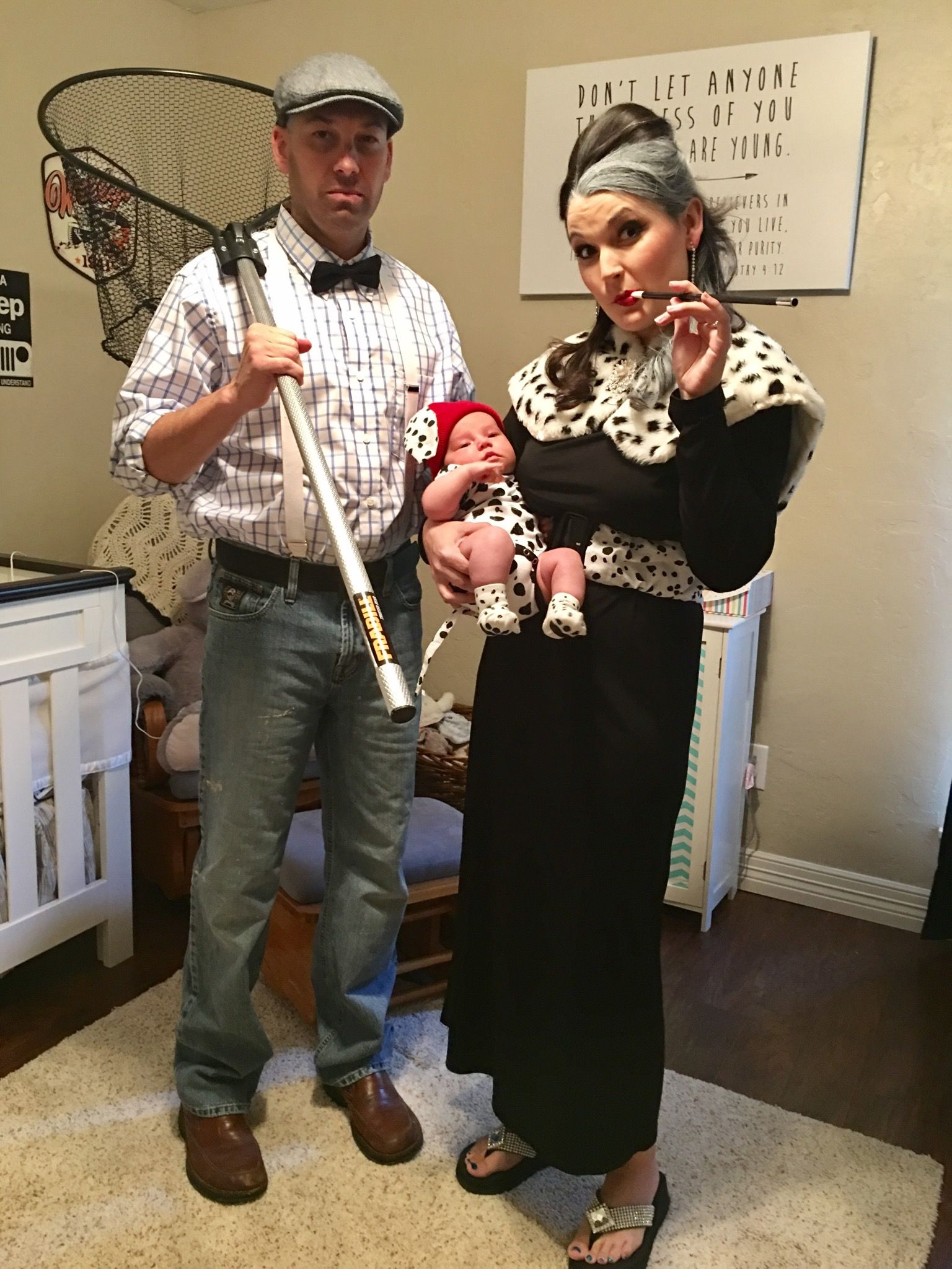 Dalmatians. Halloween Costumes. Cruella De Ville Dog Catcher And Baby Dalmatian