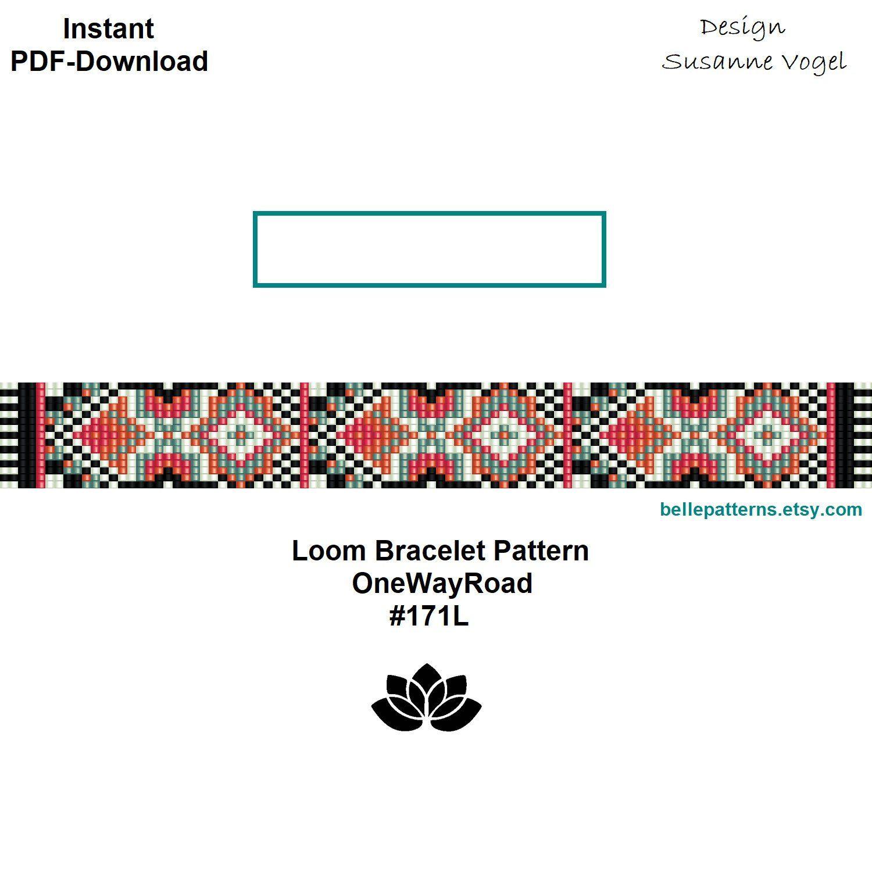 loom bracelet pattern,pdf-download,DIY,#171L,cuff bracelet pattern ...